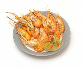 Thai Steamed Shrimp With Seafood Sauce On Dish