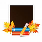 Photo Frame Decorated With Autumn Maple Leaves And School Subjects Isolated On White Background