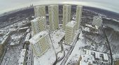 MOSCOW, RUSSIA - NOVEMBER 27, 2013: The apartment complex Elk Island, aerial view. Residential complex was commissioned in 2012