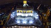 MOSCOW, RUSSIA - NOVEMBER 29, 2013: The building of the Central Academic Theatre of the Russian Army in the evening, aerial view. The theater building was built from 1934 to 1940