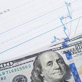 Stock Market Chart And 100 Usa Dollars Banknote Over It - Studio Shot
