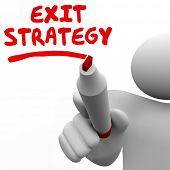 Exit Strategy words written by man with a red pen or marker planning a way out of an agreement, cont