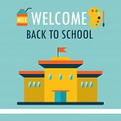 Welcome Back To School Background Design Template In Flat Style