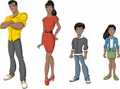 Happy cartoon african family. Black people.