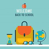 Welcome Back To School Background Backpack Globe Glasses And Hourglass