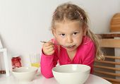 Girl Eats Soup At Home