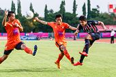 Sisaket Thailand-august 3: Peerapat Notechaiya Of Bec Tero Sasana Fc. (blue) In Action During Thai P
