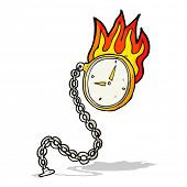 cartoon flaming watch