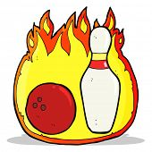 ten pin bowling cartoon symbol with fire