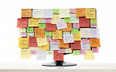 Monitor With Paper Notes