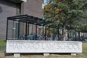 Harvard Law School University Historic Building In Cambridge, Massachusetts, Usa.