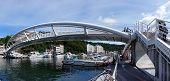 Modern Pedestrian Bridge Over The Gushan Marina