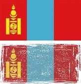 Mongolian grunge flag. Vector illustration