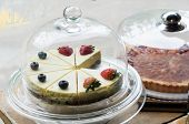 Strawberry And Blueberry Cheesecake On Cake Stand