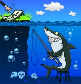 image of dangerous situation  - Fraudster shark catches people on the bait of money - JPG