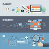 Set of flat design concepts for web development poster