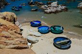 Basket boats at Ke Ga beach , Phan Thiet , Vietnam.