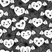 picture of kawaii  - Seamless halloween kawaii cartoon pattern with cute hearts - JPG