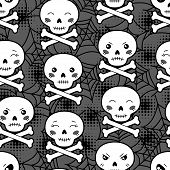 stock photo of kawaii  - Seamless halloween kawaii cartoon pattern with cute skulls - JPG