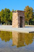 pic of rebuilt  - Madrid Spain -Temple of Debod Egyptian temple rebuilt. Ancient architecture.