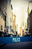 image of crime scene  - Retro Style Photo Of A Poice Barrier At A Crime Scene In A City Street - JPG