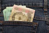 Denominations Ukrainian Hryvnia In Jeans Pocket
