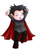 picture of chibi  - Cute cartoon illustration of Dracula isolated on white - JPG