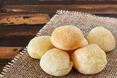 Cheese Bread (pao De Queijo) Brazilian Snack On Sackcloth