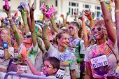 MAMAIA, CONSTANTA, ROMANIA - JULY 26: Mamaia color run 2014, in Mamaia, Constanta, on July 26, 2014. People from all walks of life participating in the fun summer run
