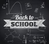 Composite image of back to school message against blackboard
