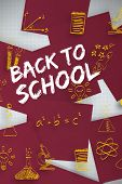 Back to school message against wine paper strewn over grid