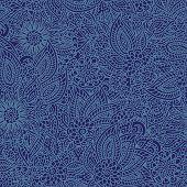 Floral denim seamless pattern