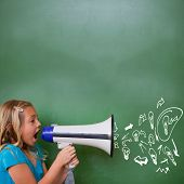 Idea and innovation graphic against cute pupil shouting through megaphone