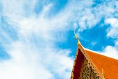 image of gable-roof  - Roof style of thai temple with gable apex on the top Ancient City Thailand - JPG