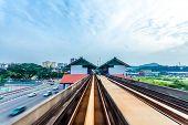Sky train through the city center in Kuala Lumpur