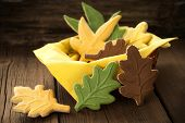 Fall Cookies On Wood