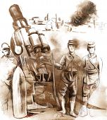 Soldiers Posing In Front Of A Large Howitzer (mortar)