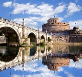 pic of yellow castle  - Angel Castle with bridge on Tiber river in Rome - JPG
