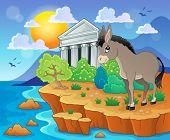Cute donkey on shore - eps10 vector illustration.