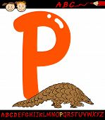 Letter P For Pangolin Cartoon Illustration