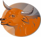 stock photo of bull head  - Illustration of an angry bull head set inside ellipse done in retro style - JPG
