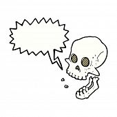 cartoon laughing skull with speech bubble