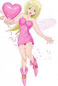 Love fairy holding shiny heart. Raster version.