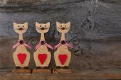 Three Valentines Love Wooden Cat Shapes With Red Heart Decoration