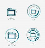 Folder logo stamp. Accounting binder. Minimal line design