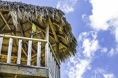 pic of tiki  - The roof of a tiki hut tower with blue sky in the background - JPG