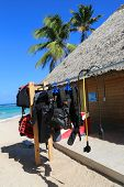 Diving equipment ready for tourists at diving shop located at  Bavaro Beach in Punta Cana
