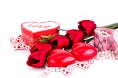 Red Heart Candles, Tulips, Necklaces And Gift Boxes