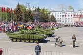 Russian Military Transport At The Parade On Annual Victory Day, May, 9, 2014 In Samara, Russia.