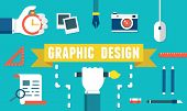 Vector Concept Of Equipment For Design. Gadgets For Creation. Flat Style Design